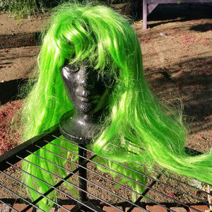 West Bay Wig Long Hair Green with Bangs